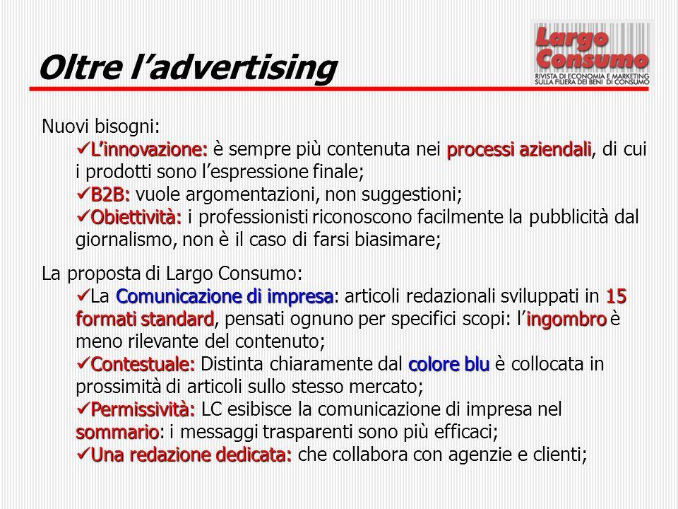Oltre l'advertising Nuovi bisogni: