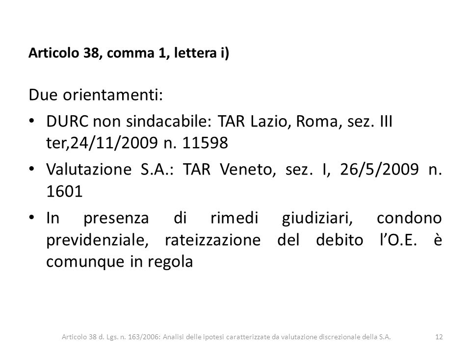 Valutazione S.A.: TAR Veneto, sez. I, 26/5/2009 n. 1601
