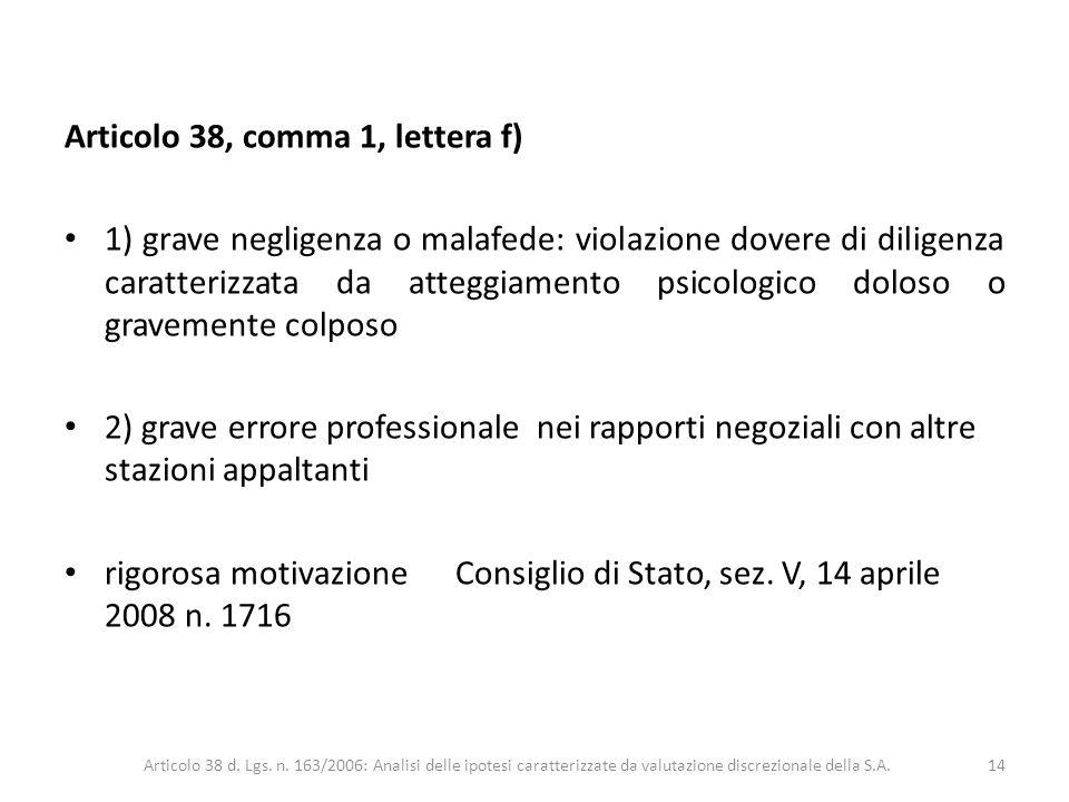 Articolo 38, comma 1, lettera f)