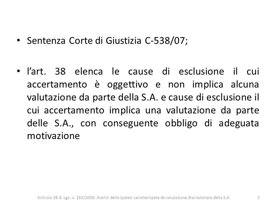 Sentenza Corte di Giustizia C-538/07;