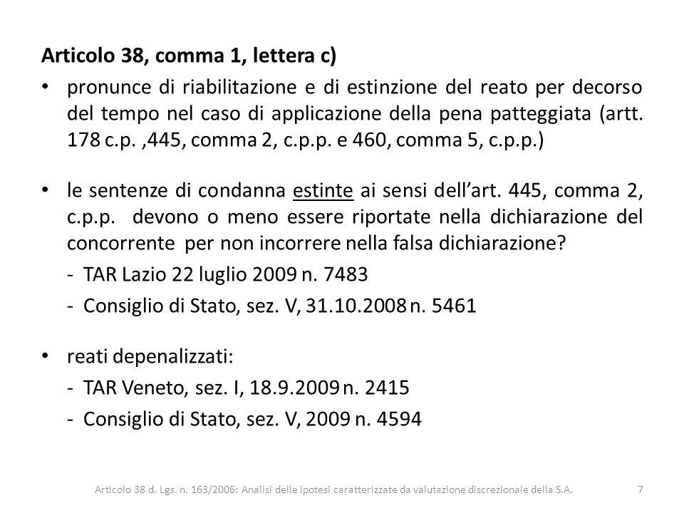 Articolo 38, comma 1, lettera c)