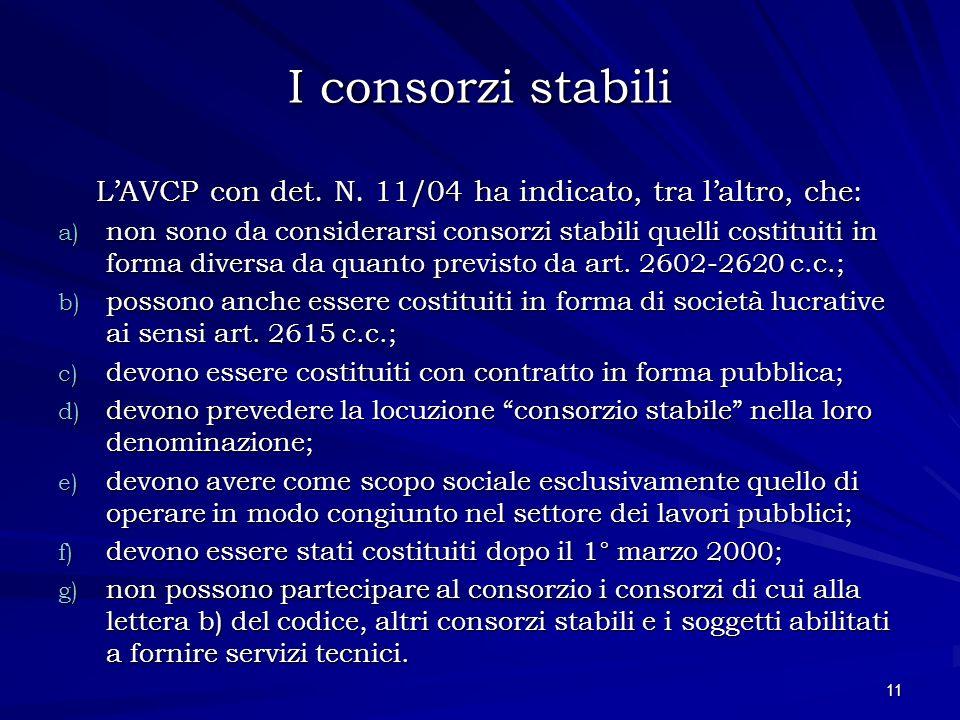 I consorzi stabili L'AVCP con det. N. 11/04 ha indicato, tra l'altro, che: