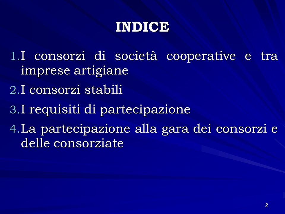 INDICE I consorzi di società cooperative e tra imprese artigiane