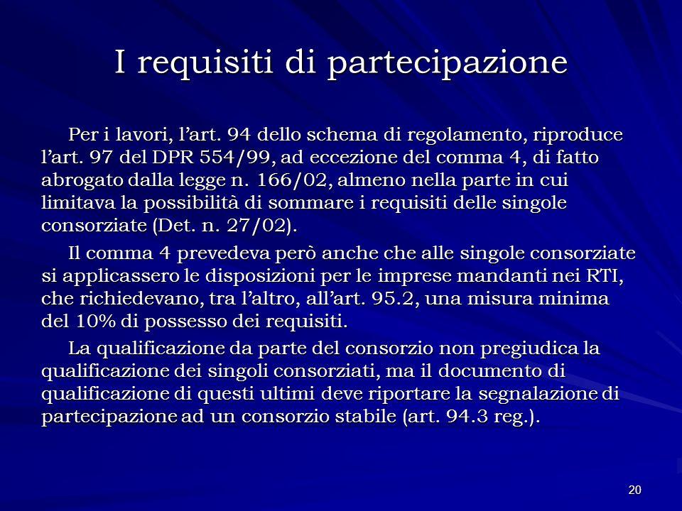 I requisiti di partecipazione