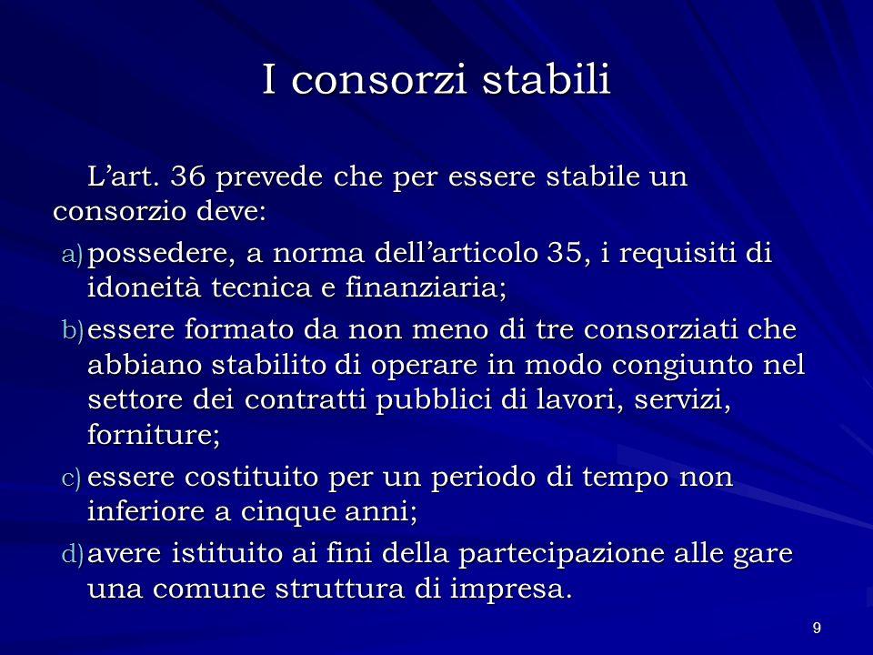 I consorzi stabili L'art. 36 prevede che per essere stabile un consorzio deve: