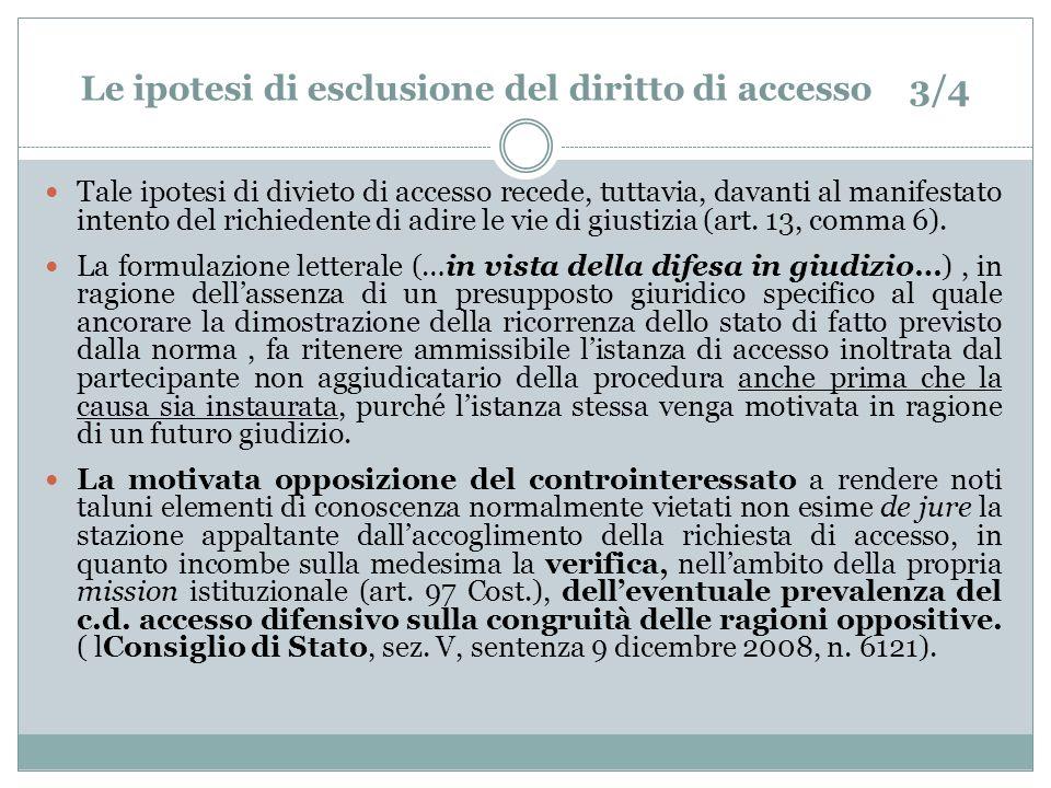 Le ipotesi di esclusione del diritto di accesso 3/4