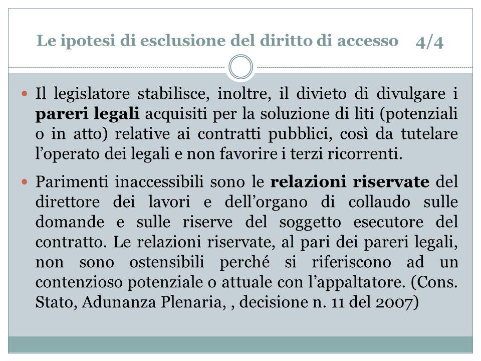Le ipotesi di esclusione del diritto di accesso 4/4