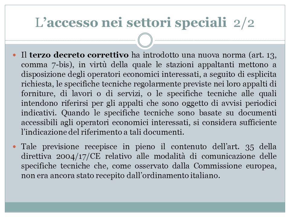 L'accesso nei settori speciali 2/2