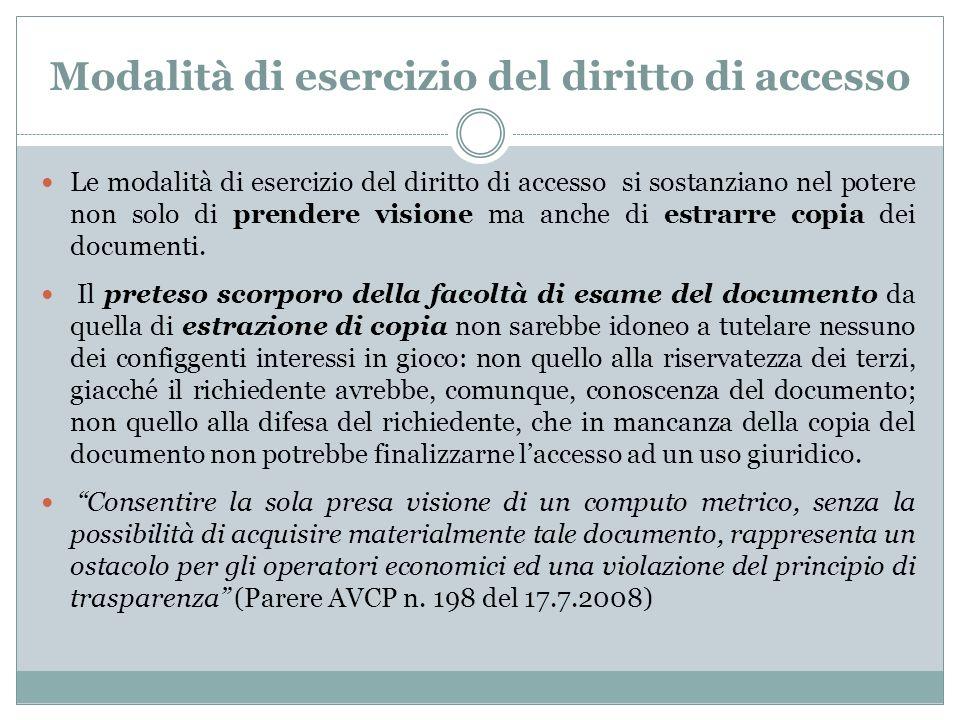 Modalità di esercizio del diritto di accesso