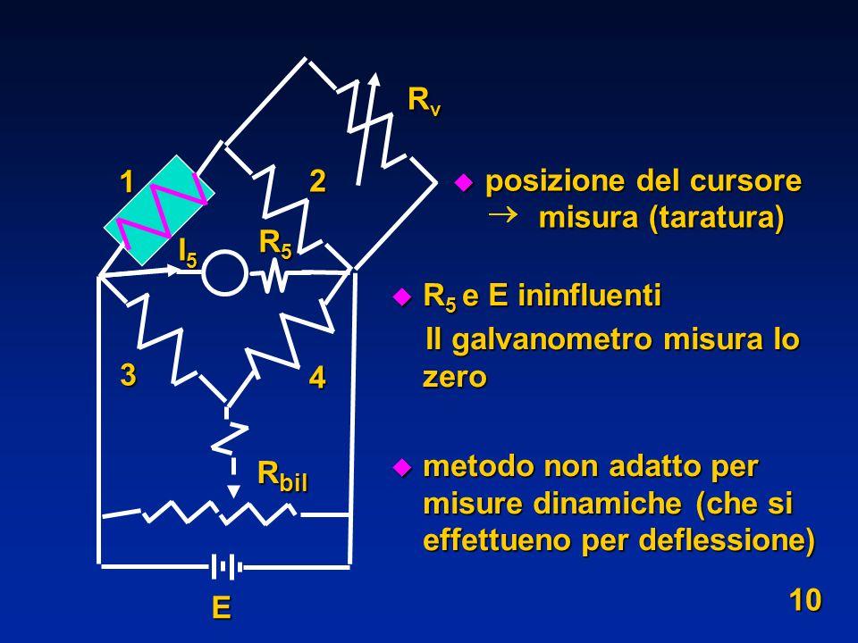 Rv 1. 2. posizione del cursore. misura (taratura) R5 e E ininfluenti. Il galvanometro misura lo zero.