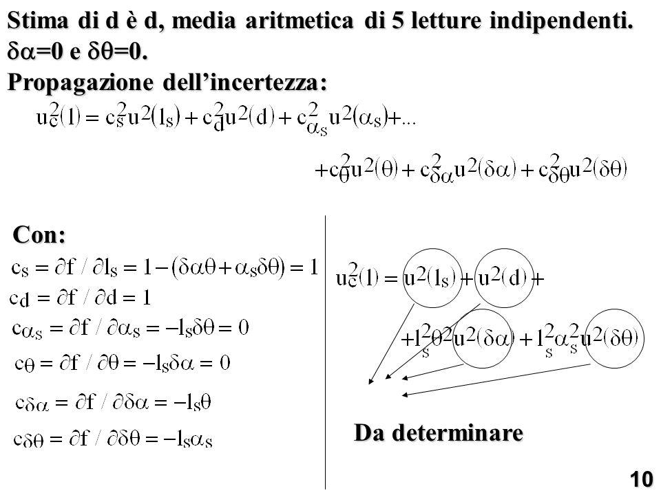 Stima di d è d, media aritmetica di 5 letture indipendenti.