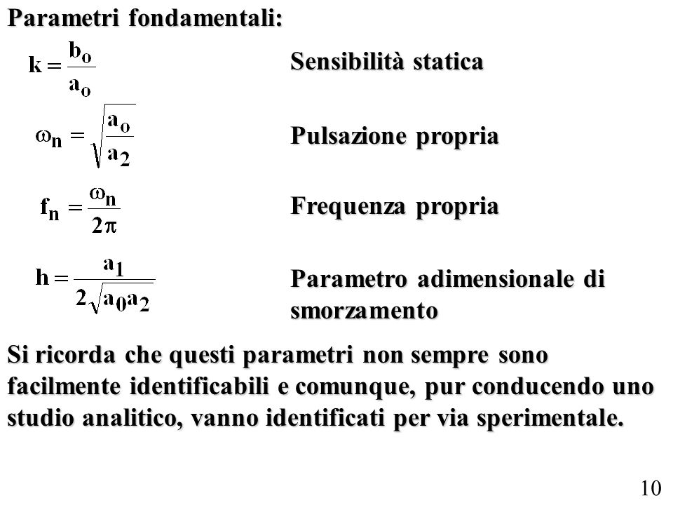 Parametri fondamentali: