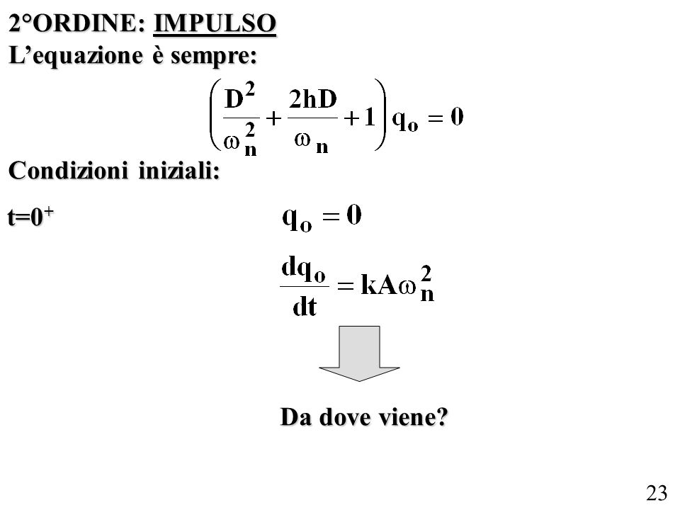 2°ORDINE: IMPULSO L'equazione è sempre: Condizioni iniziali: t=0+ Da dove viene
