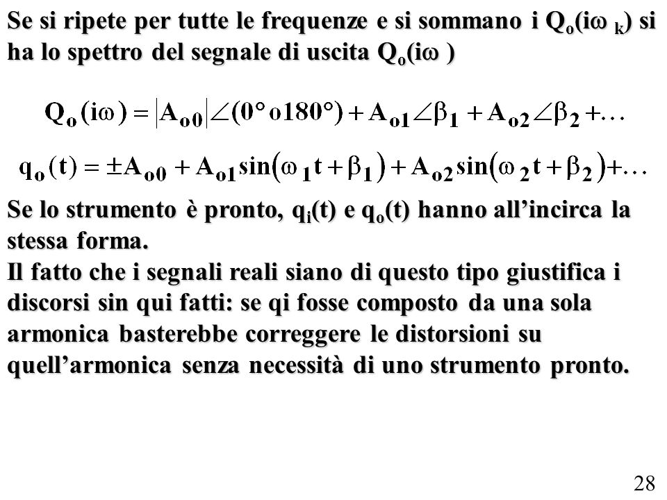 Se si ripete per tutte le frequenze e si sommano i Qo(iw k) si ha lo spettro del segnale di uscita Qo(iw )