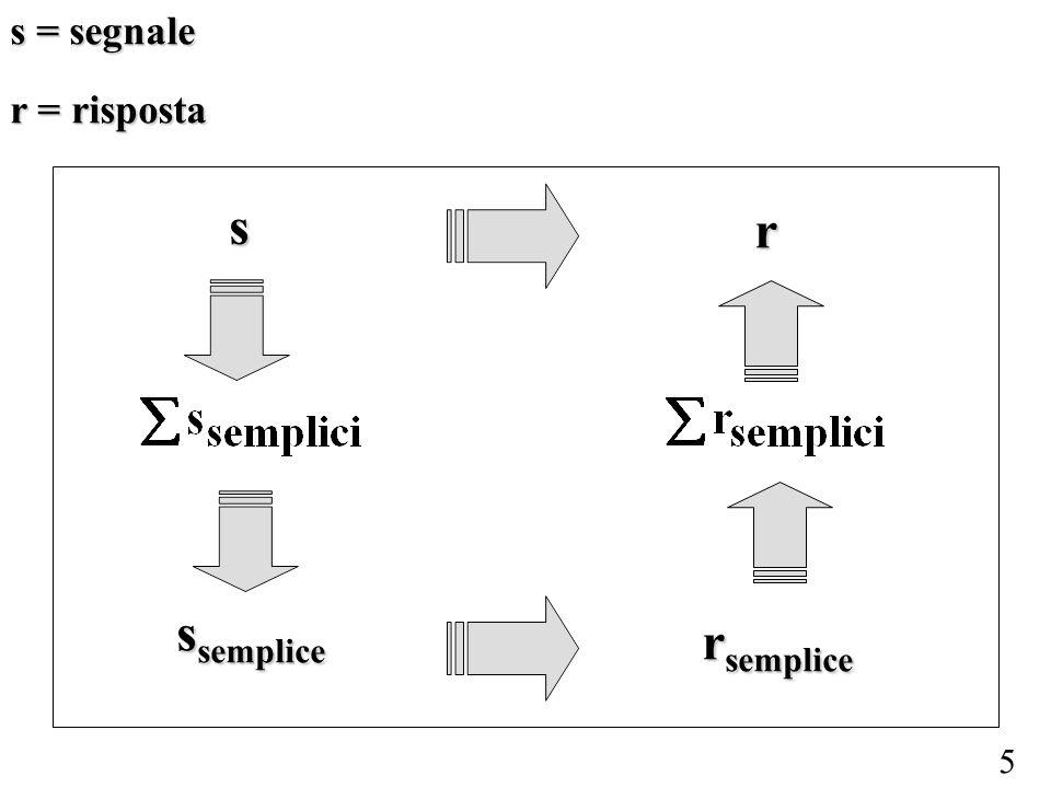 s = segnale r = risposta s r ssemplice rsemplice