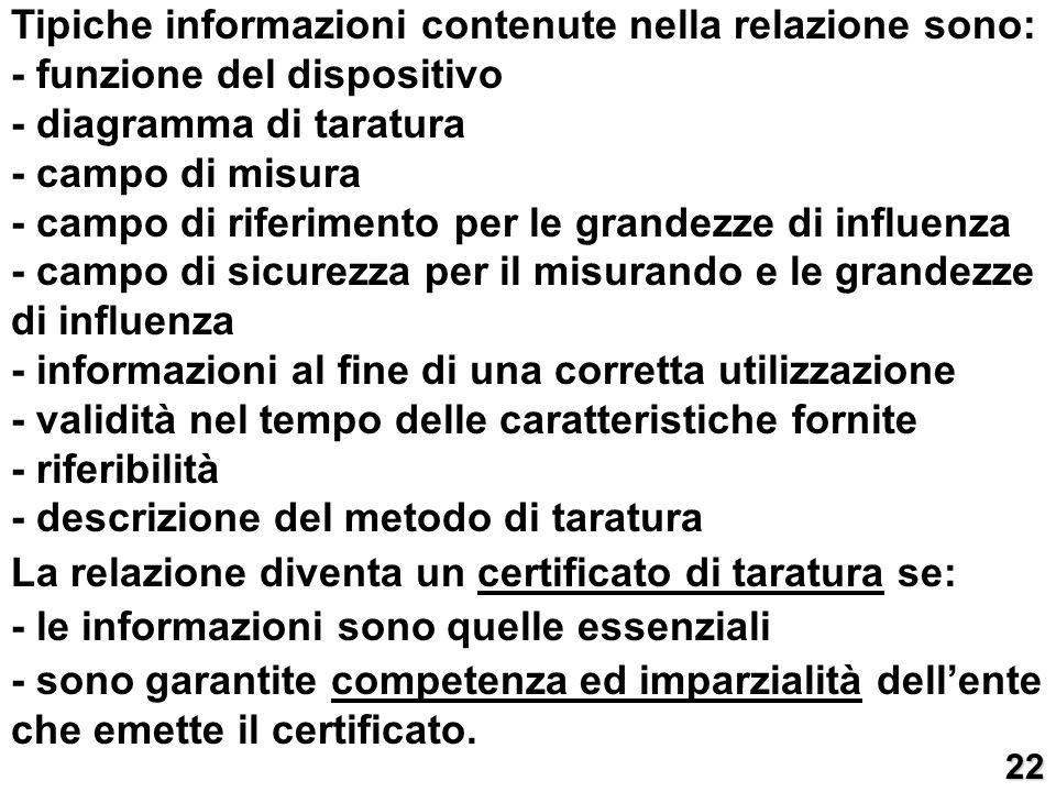 Tipiche informazioni contenute nella relazione sono: