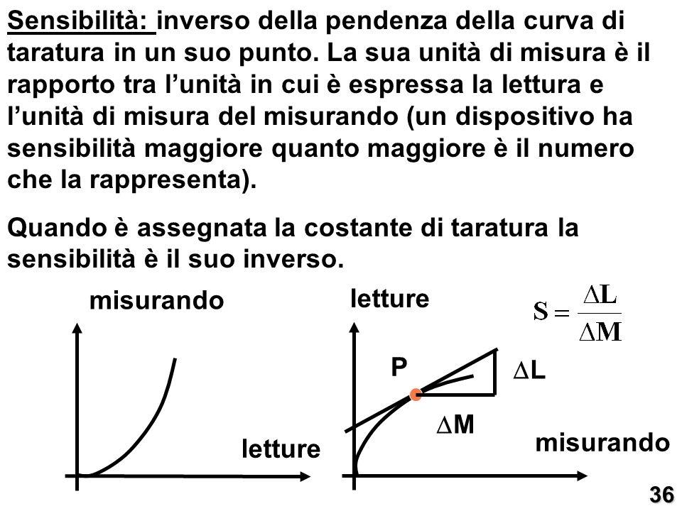 Sensibilità: inverso della pendenza della curva di taratura in un suo punto. La sua unità di misura è il rapporto tra l'unità in cui è espressa la lettura e l'unità di misura del misurando (un dispositivo ha sensibilità maggiore quanto maggiore è il numero che la rappresenta).