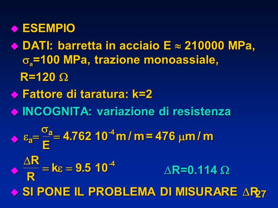 Fattore di taratura: k=2 INCOGNITA: variazione di resistenza