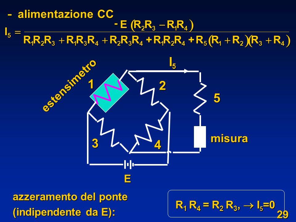   - alimentazione CC I5 1 2 5 3 4 estensimetro misura I R    E +
