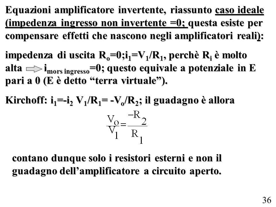 Equazioni amplificatore invertente, riassunto caso ideale (impedenza ingresso non invertente =0; questa esiste per compensare effetti che nascono negli amplificatori reali):