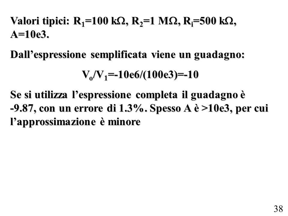 Valori tipici: R1=100 k, R2=1 M, Ri=500 k, A=10e3.