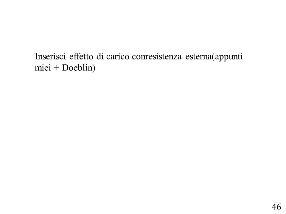 Inserisci effetto di carico conresistenza esterna(appunti miei + Doeblin)