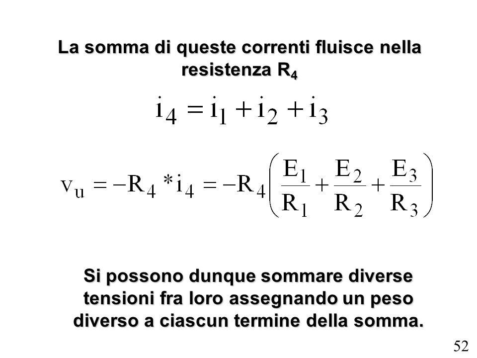 La somma di queste correnti fluisce nella resistenza R4