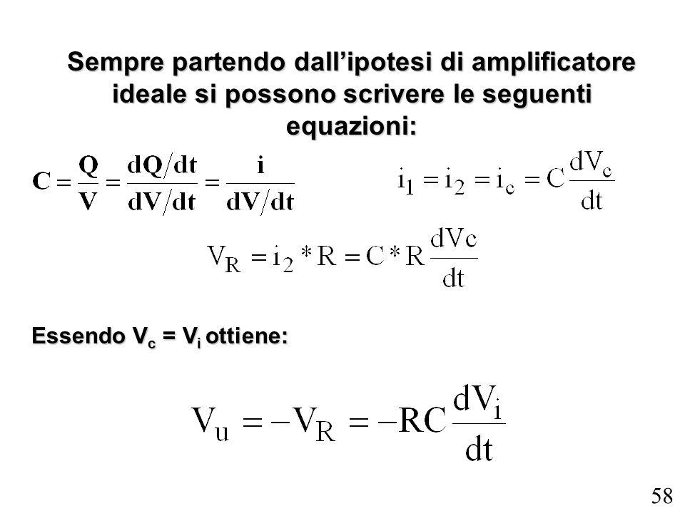 Sempre partendo dall'ipotesi di amplificatore ideale si possono scrivere le seguenti equazioni: