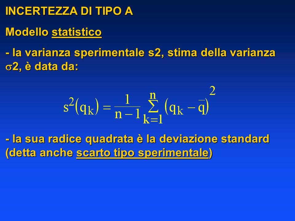 INCERTEZZA DI TIPO A Modello statistico. - la varianza sperimentale s2, stima della varianza 2, è data da:
