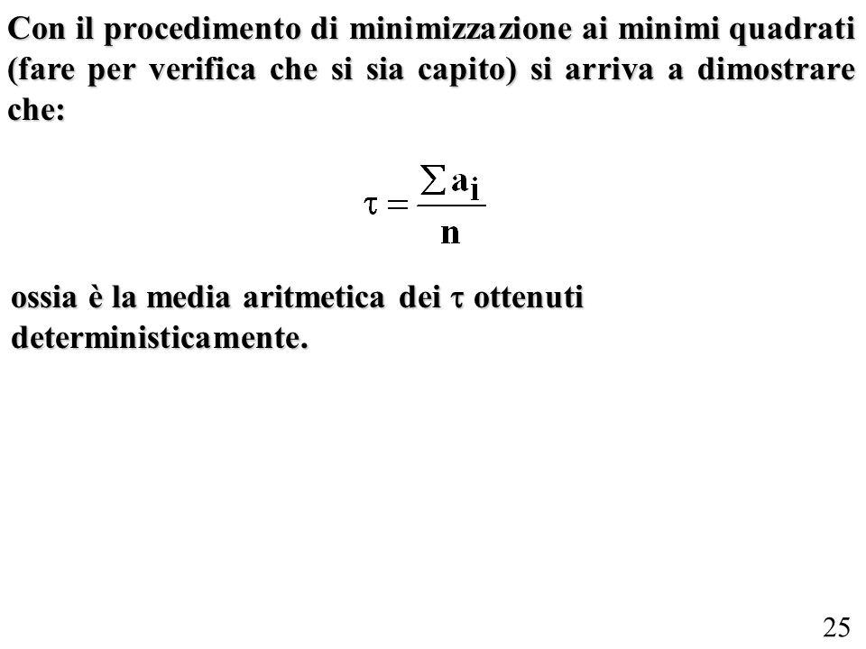 Con il procedimento di minimizzazione ai minimi quadrati (fare per verifica che si sia capito) si arriva a dimostrare che: