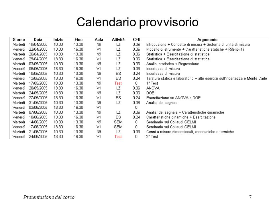 Calendario provvisorio