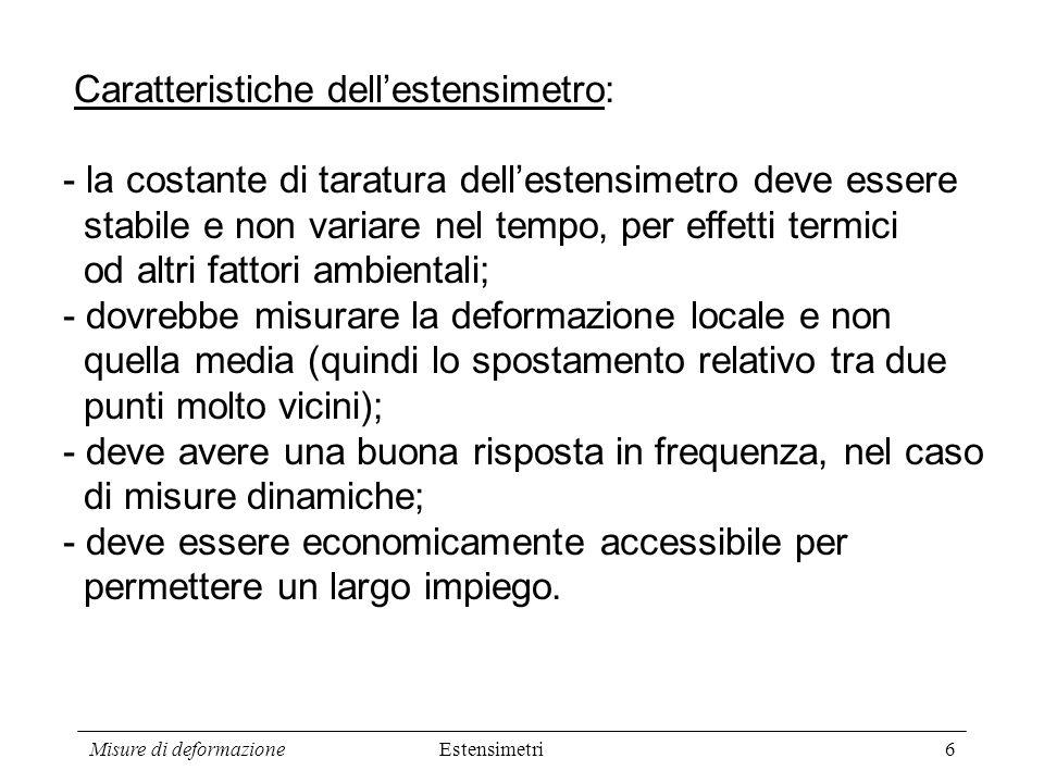 Caratteristiche dell'estensimetro: