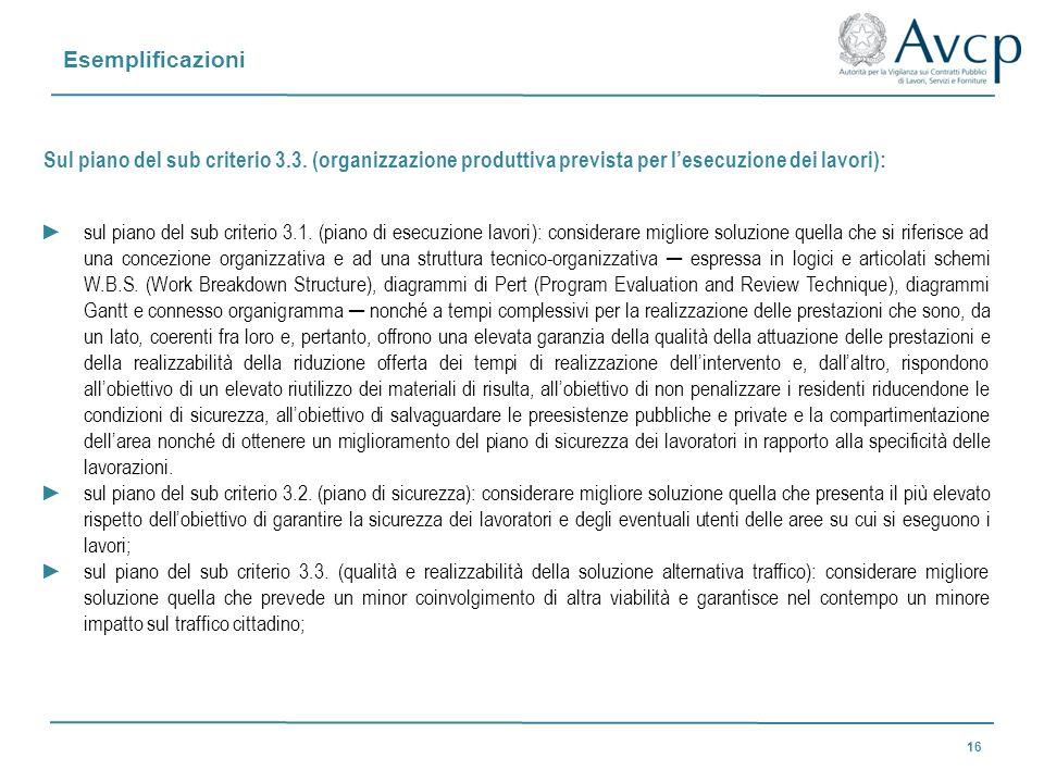 Esemplificazioni Sul piano del sub criterio 3.3. (organizzazione produttiva prevista per l'esecuzione dei lavori):