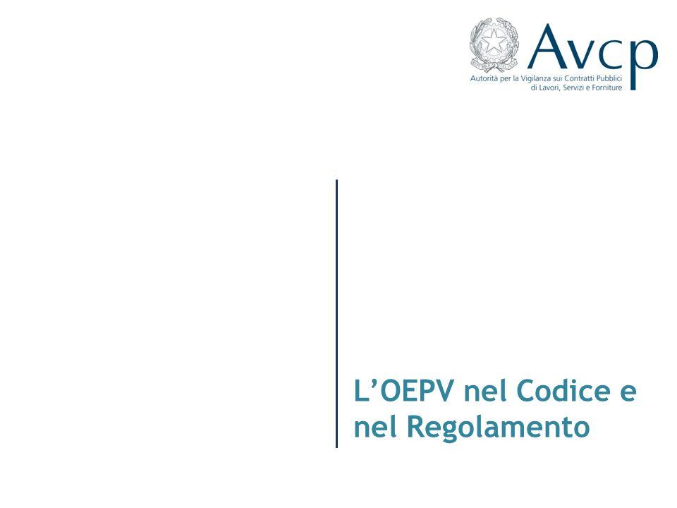L'OEPV nel Codice e nel Regolamento