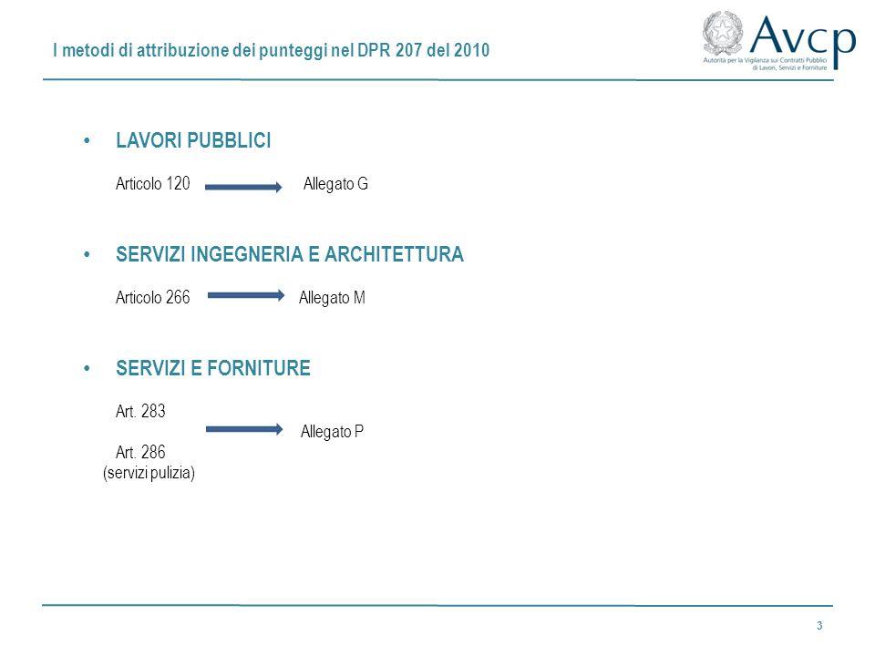 I metodi di attribuzione dei punteggi nel DPR 207 del 2010