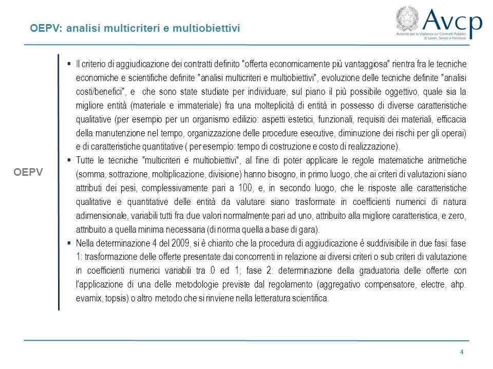 OEPV: analisi multicriteri e multiobiettivi