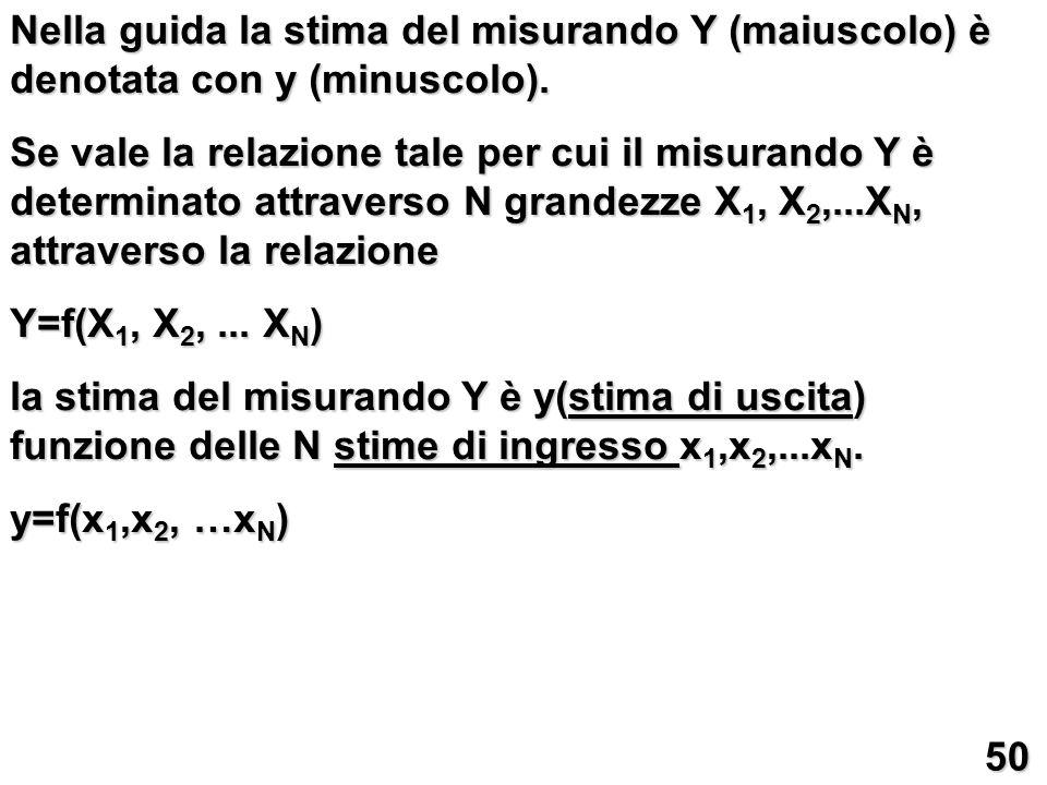 Nella guida la stima del misurando Y (maiuscolo) è denotata con y (minuscolo).