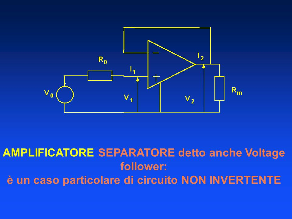 AMPLIFICATORE SEPARATORE detto anche Voltage follower: