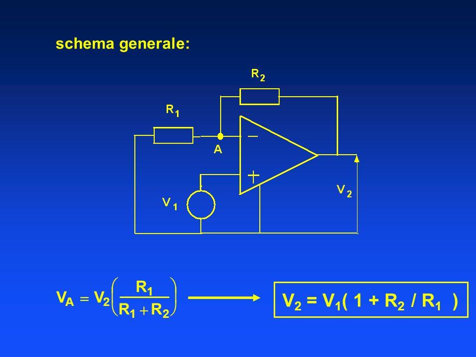 V2 = V1( 1 + R2 / R1 ) schema generale:  R  V  V    R  R