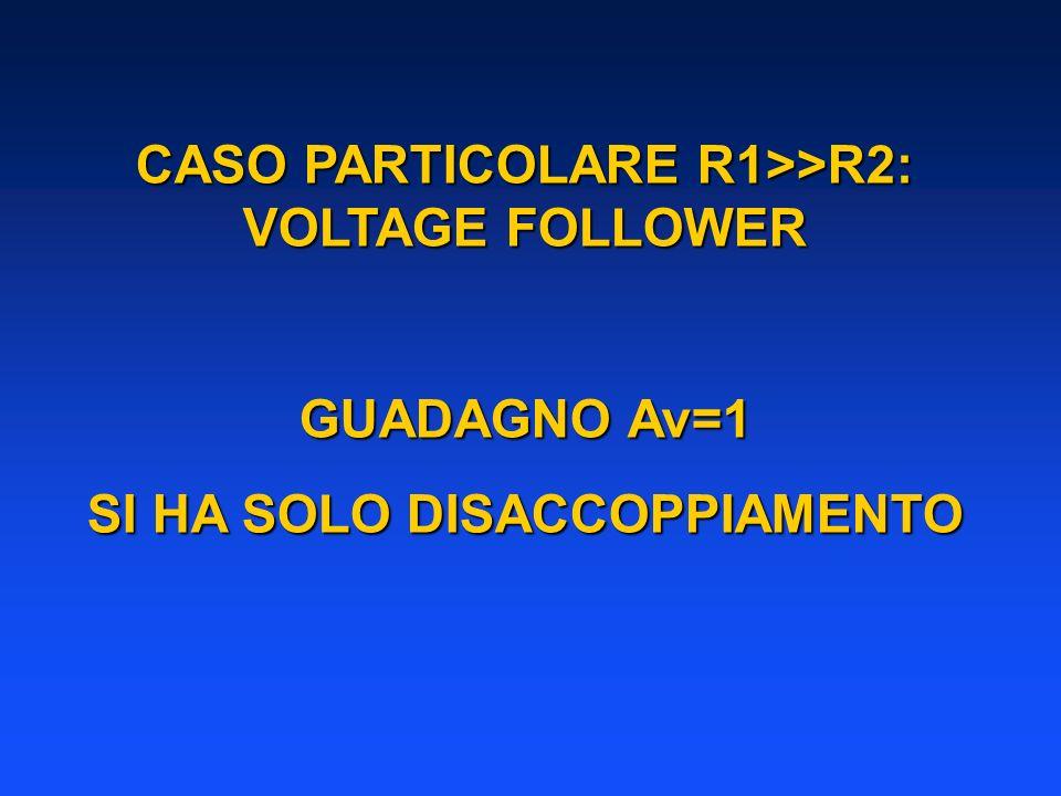CASO PARTICOLARE R1>>R2: VOLTAGE FOLLOWER