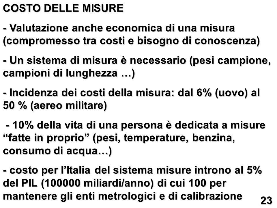 COSTO DELLE MISURE - Valutazione anche economica di una misura (compromesso tra costi e bisogno di conoscenza)