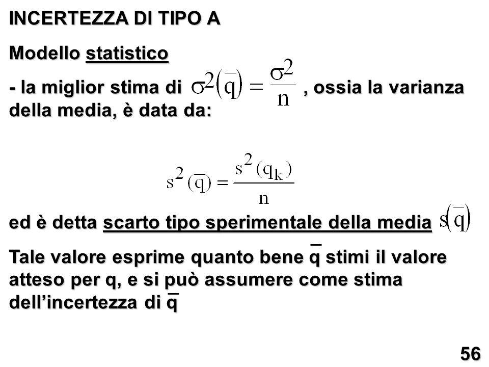 INCERTEZZA DI TIPO A Modello statistico. - la miglior stima di , ossia la varianza della media, è data da: