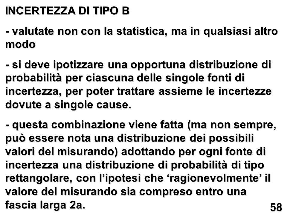 INCERTEZZA DI TIPO B - valutate non con la statistica, ma in qualsiasi altro modo.