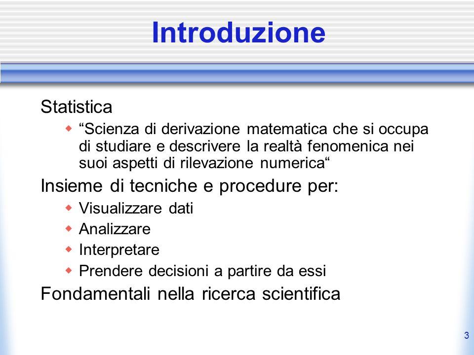 Introduzione Statistica Insieme di tecniche e procedure per: