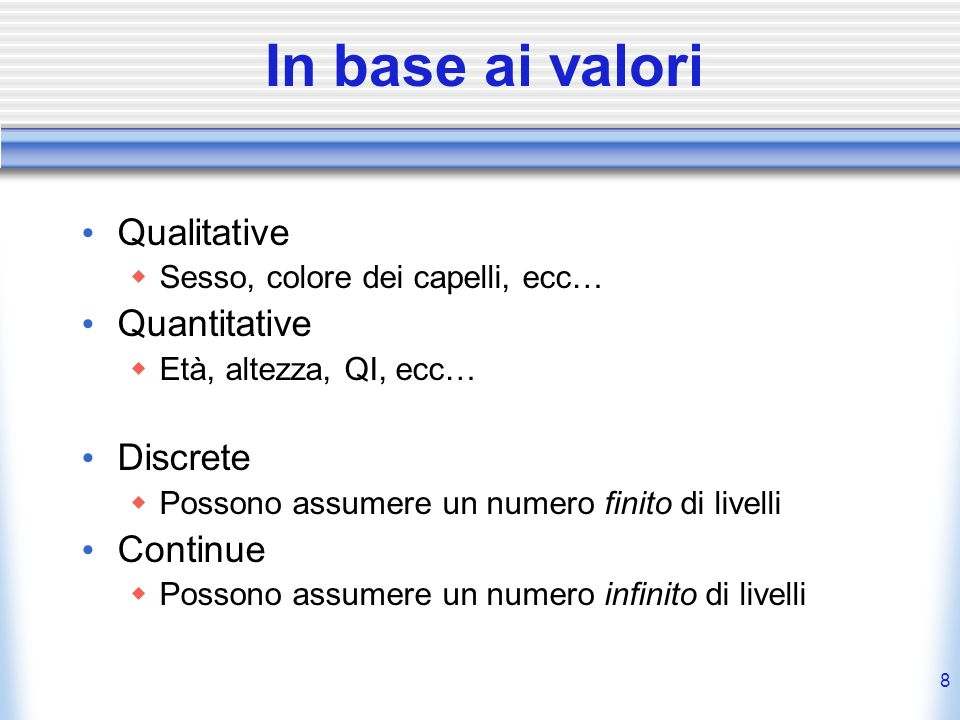 In base ai valori Qualitative Quantitative Discrete Continue
