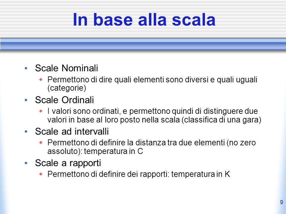 In base alla scala Scale Nominali Scale Ordinali Scale ad intervalli