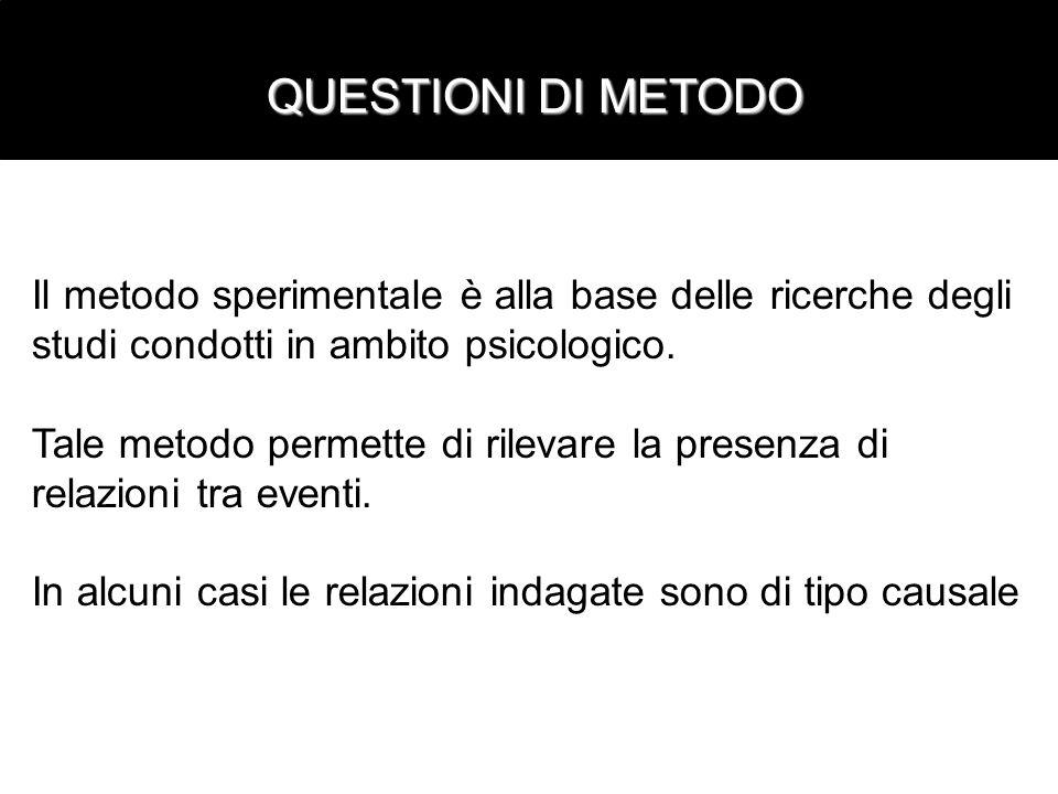 QUESTIONI DI METODOIl metodo sperimentale è alla base delle ricerche degli. studi condotti in ambito psicologico.