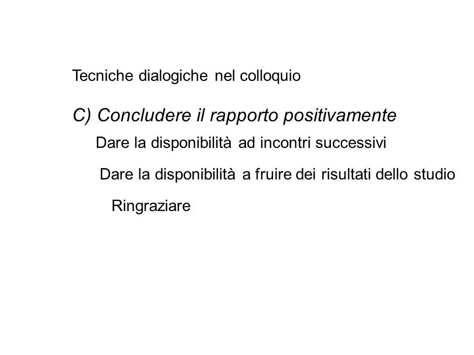 C) Concludere il rapporto positivamente