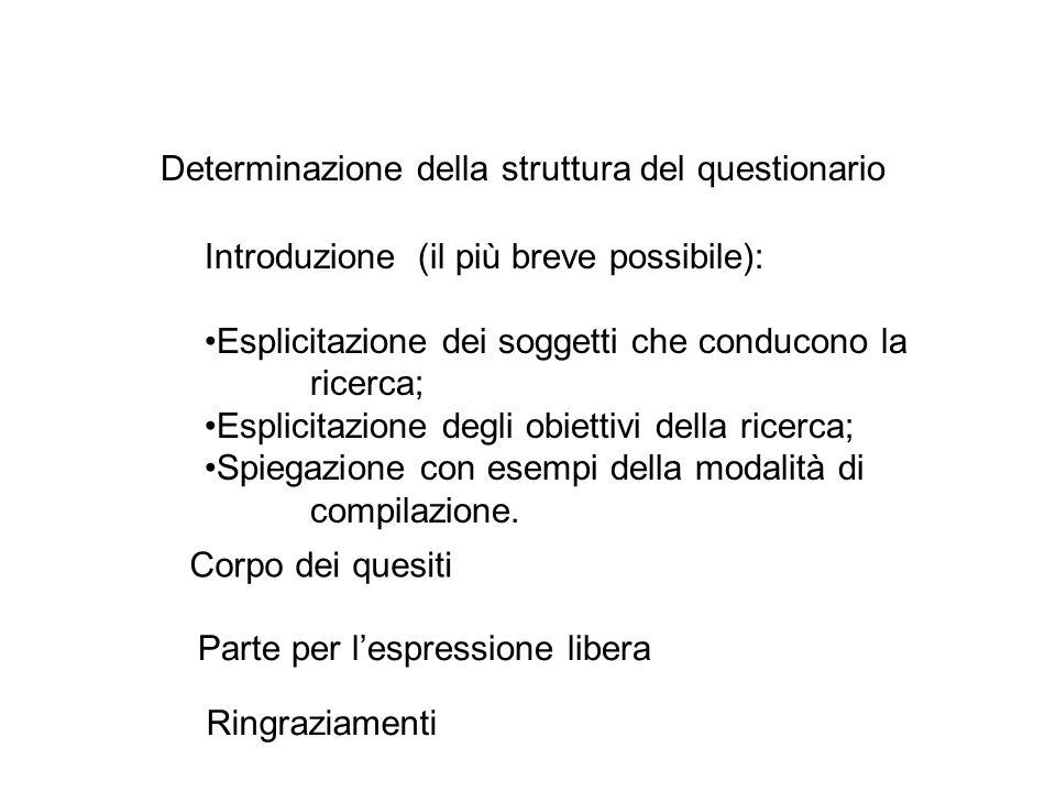 Determinazione della struttura del questionario