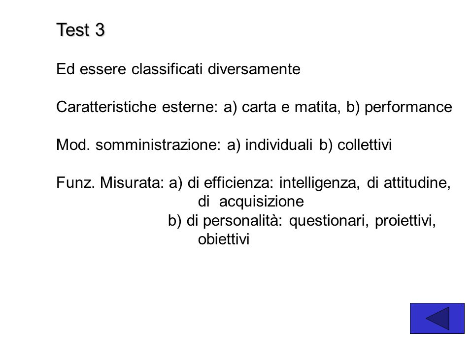 Test 3 Ed essere classificati diversamente